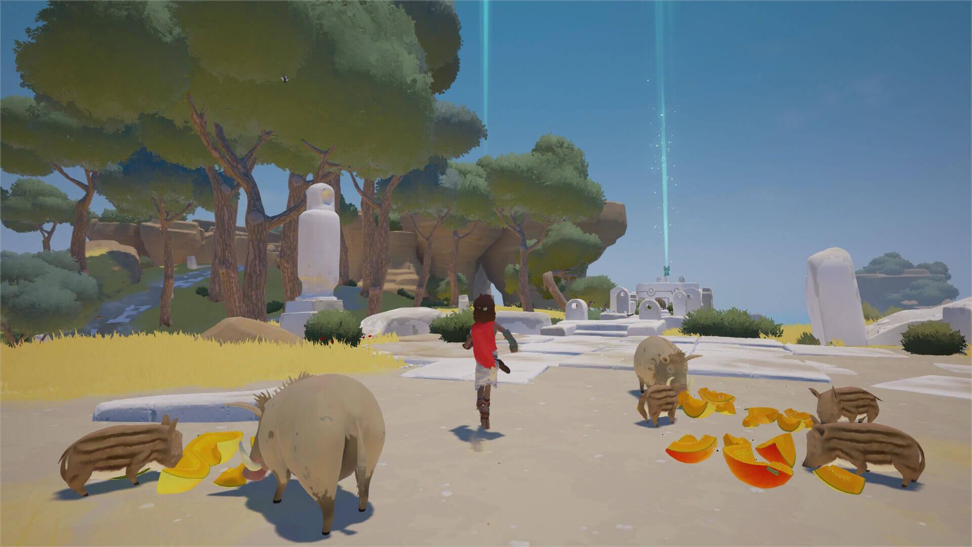 Screenshot: Kleiner Bub läuft an einer Wildschwein-Familie vorbei