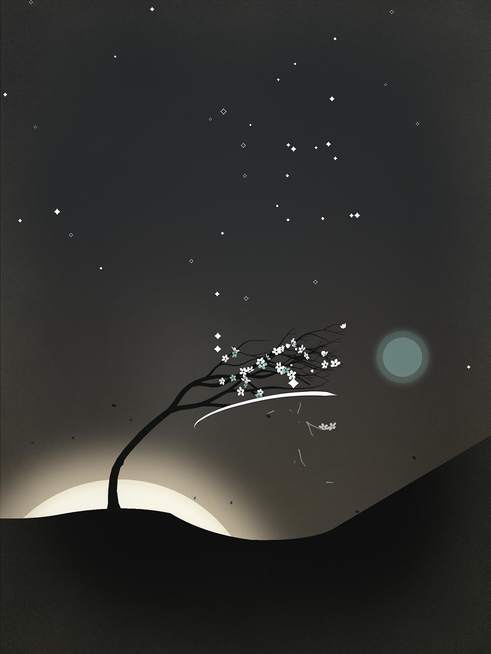 Screenshot: Der Baum verbiegt sich nach rechts in Richtung Licht.