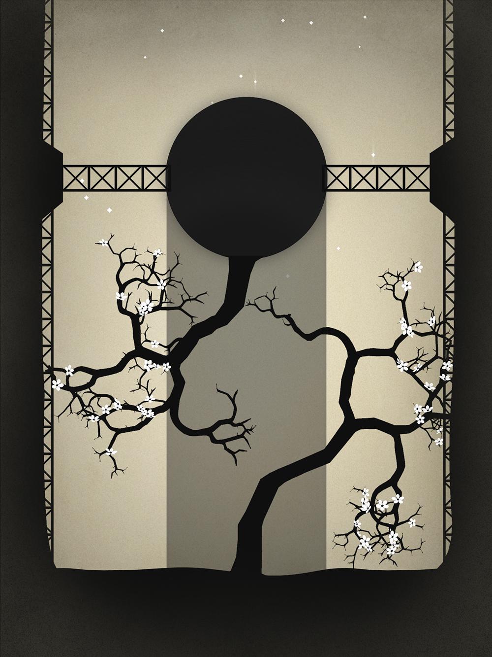 Screenshot: Ein Baum wächst kopfüber nach unten zum Licht, der andere nach oben.