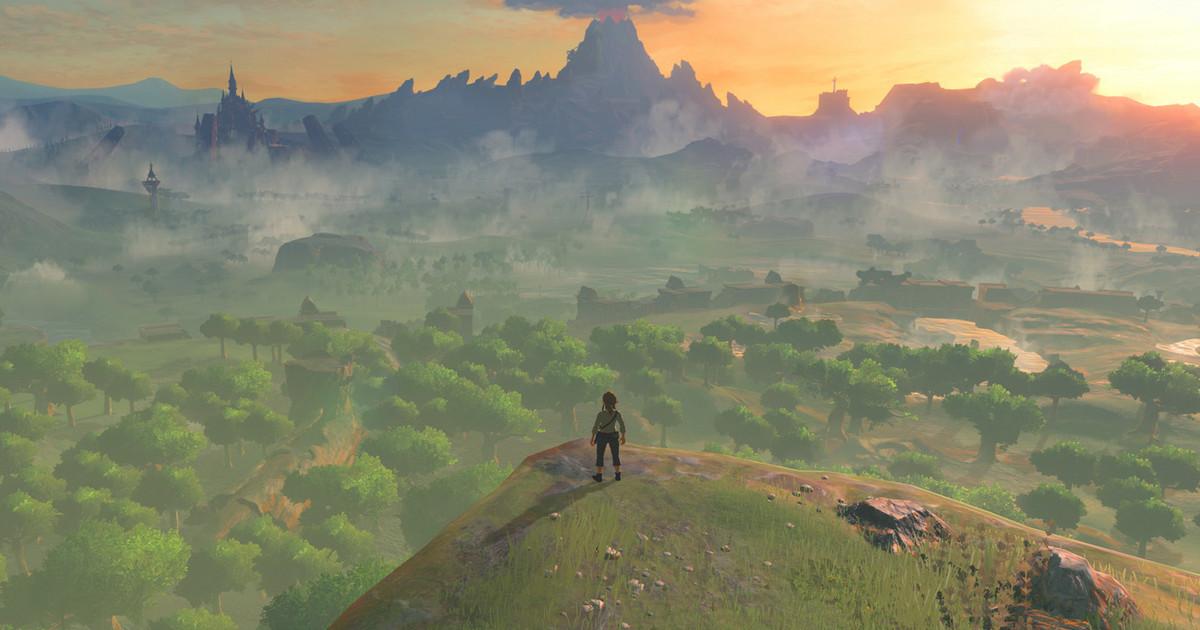 Screenshot: Auf einer Klippe steht Link, in der Ferne eine weite Landschaft.