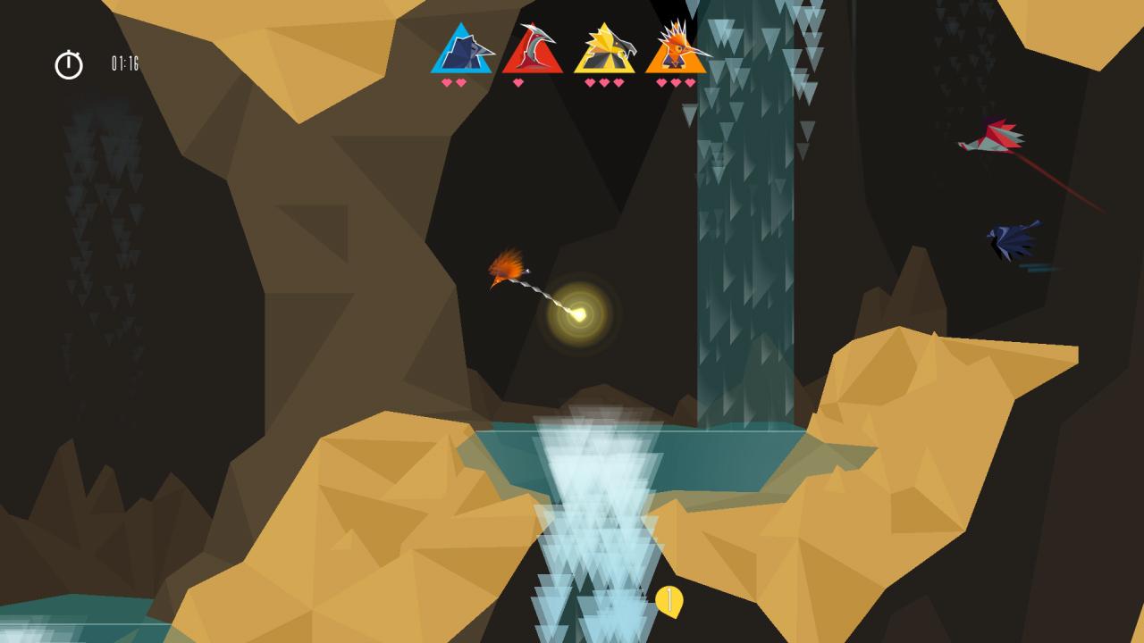 Vögel jagen nach dem Juwel in einer Höhle mit Wasserfällen