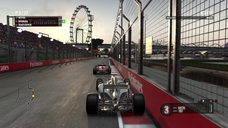 Screenshot: 3rd Person Perspektive beim Formel 1 Rennen