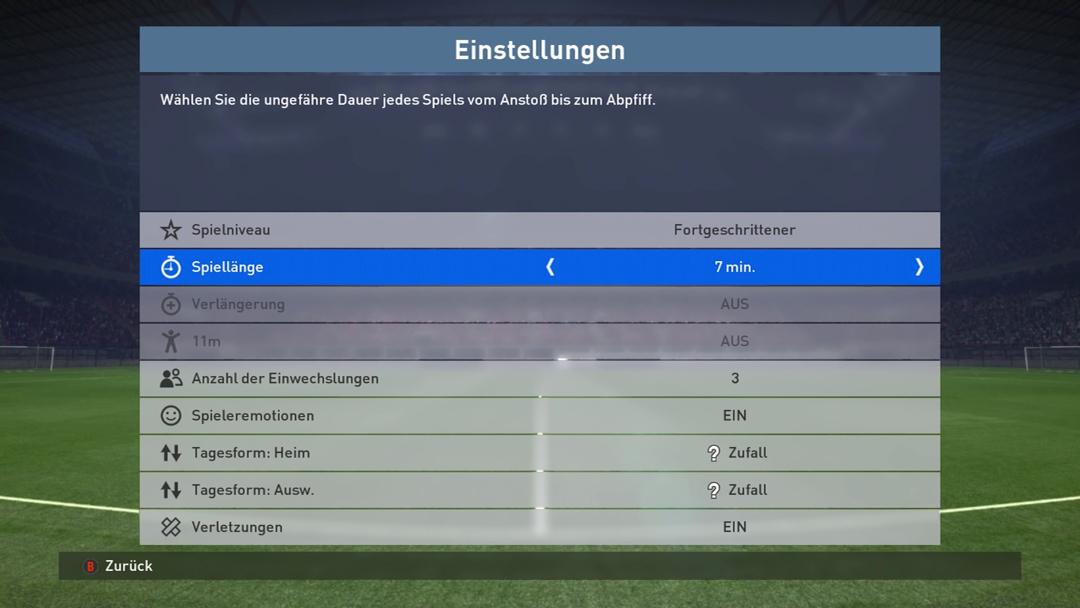 Screenshot: zeigt das Spiel-Einstellungs-Menü.
