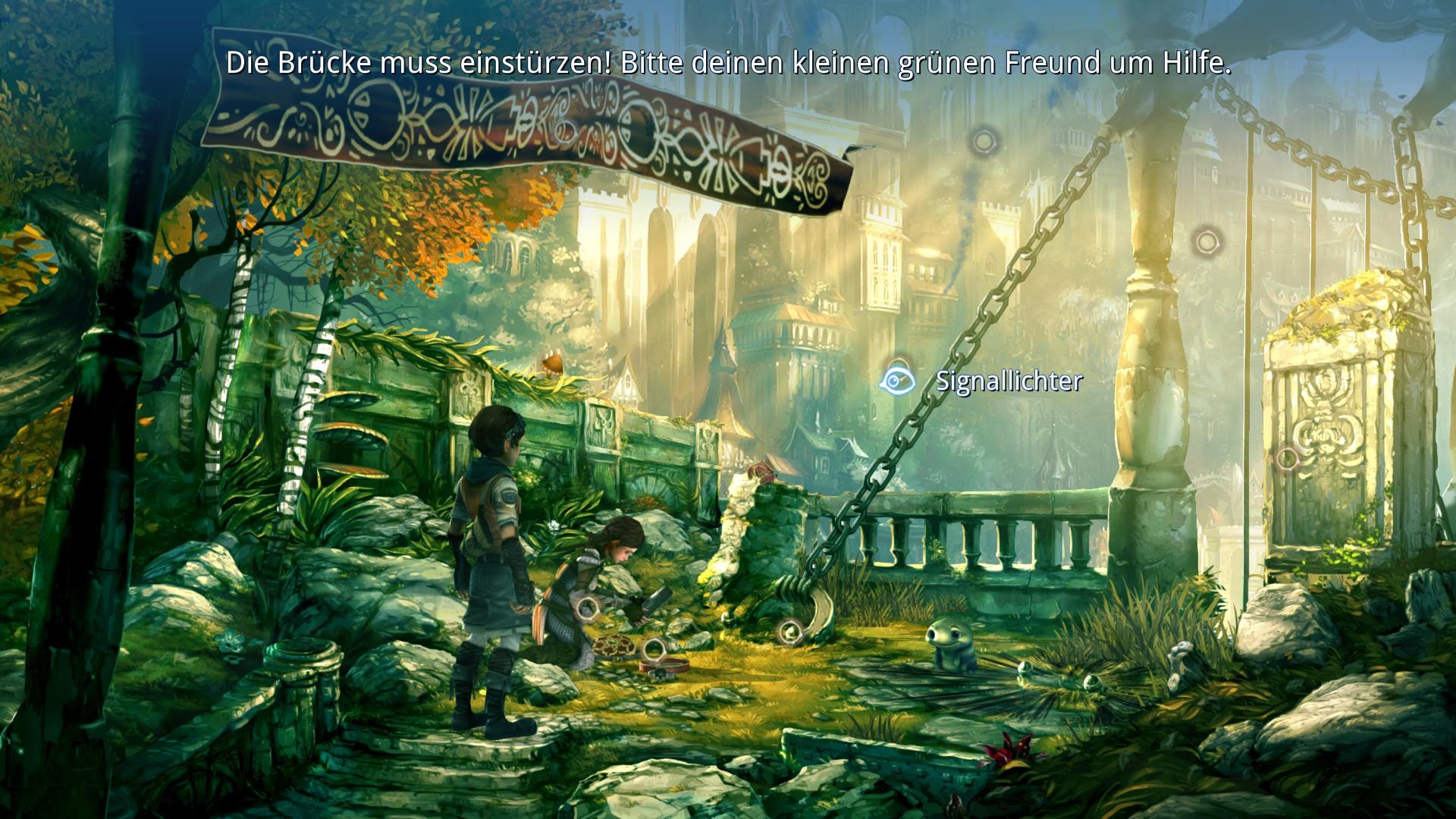 Screenshot: Noah, Kyra und Spot versuchen die Verankerung einer Brücke zu zerstören. Das Interface des Spiels ist im Bild.