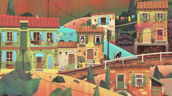 Screenshot: Der Protagonist wandert durch ein idyllisches Dörfchen.