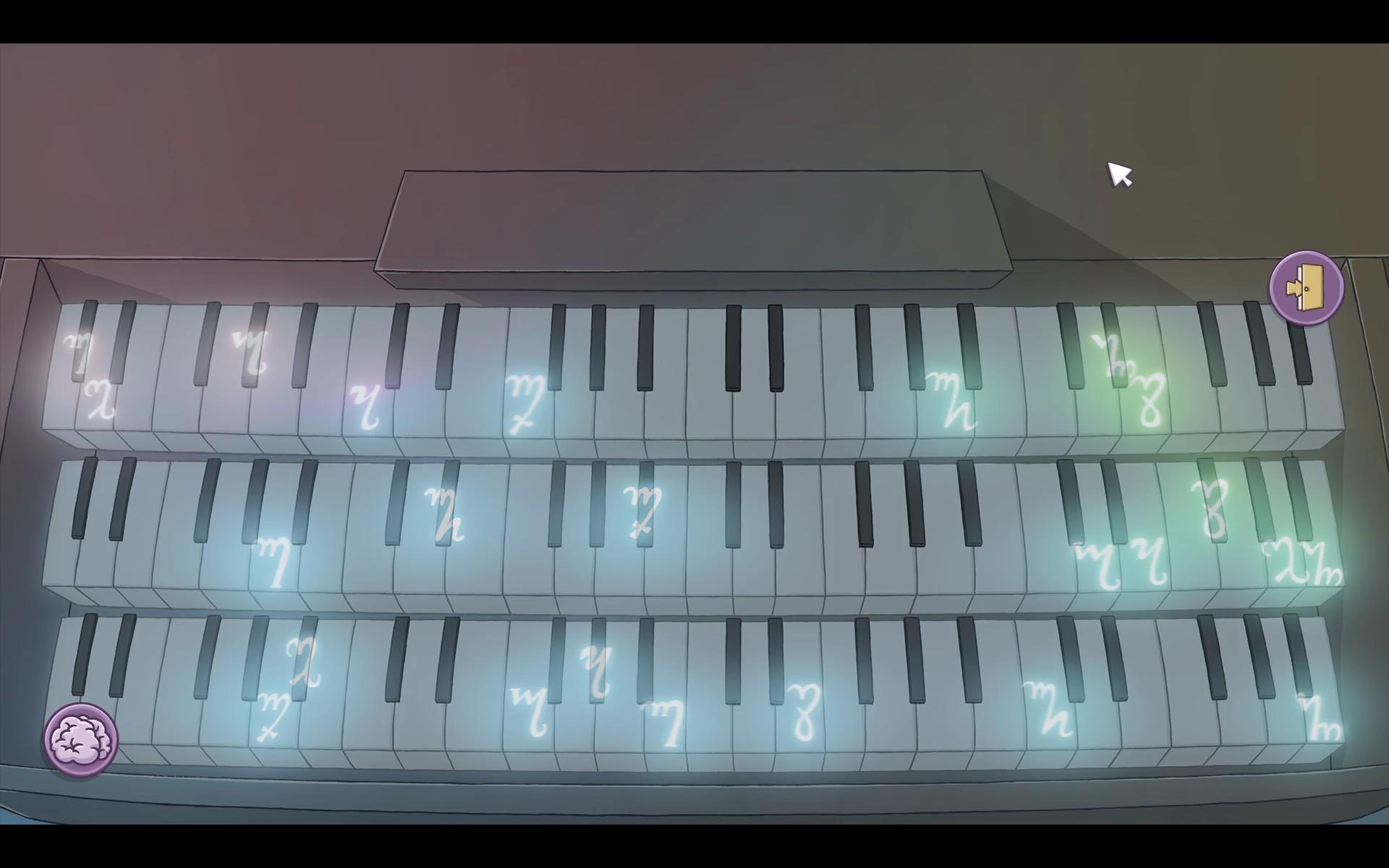 Screenshot: Minigame mit einer Orgel