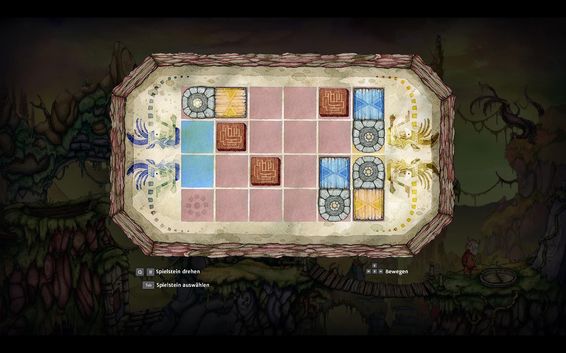 Screenshot: In einem Minispiel müssen verschiedene Steine an die richtige Position verschoben werden.