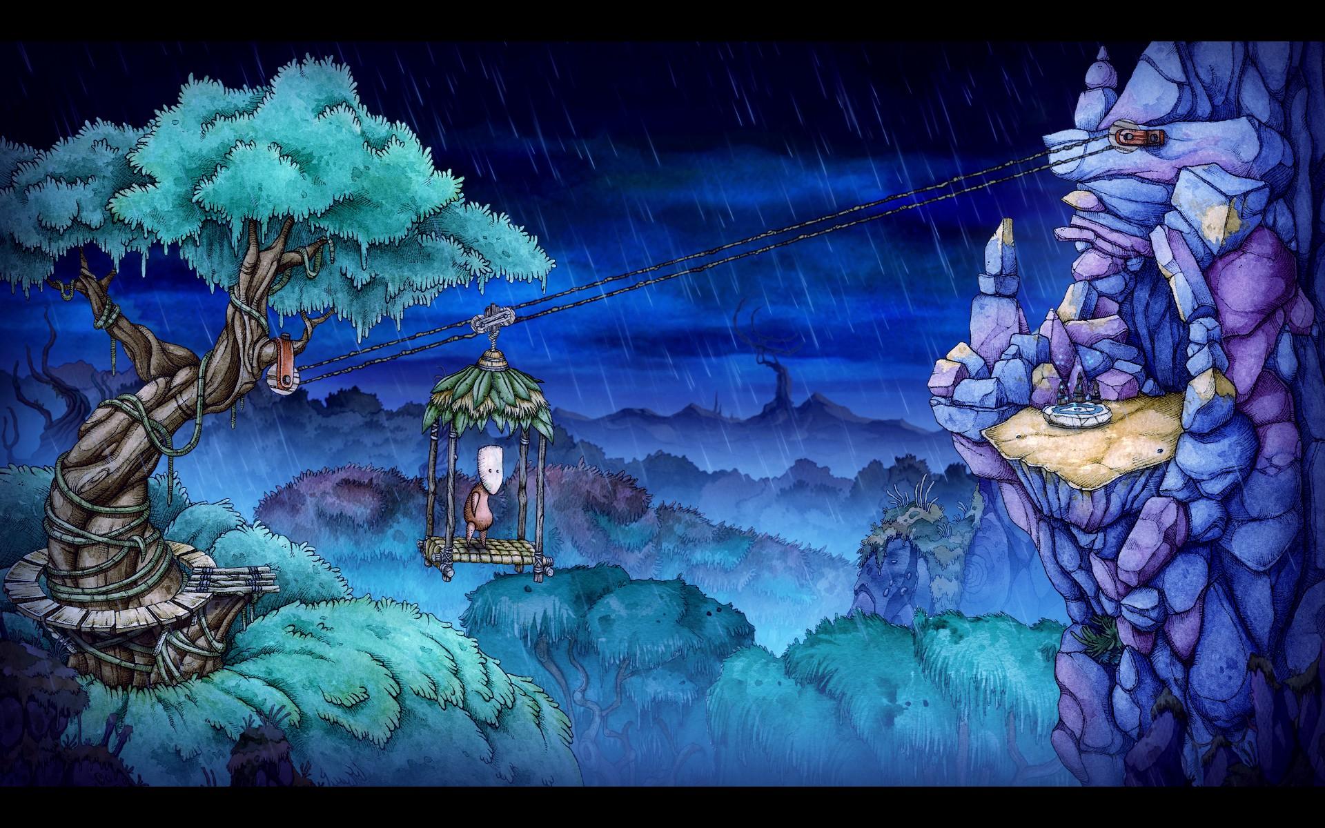Screenshot: Teku überquert mit einer Art Gondel einen Abgrund. Es regnet.