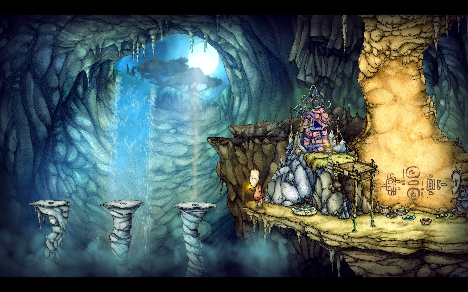Screenshot: Teku steht vor Plattformen aus denen Wasser sprüht.