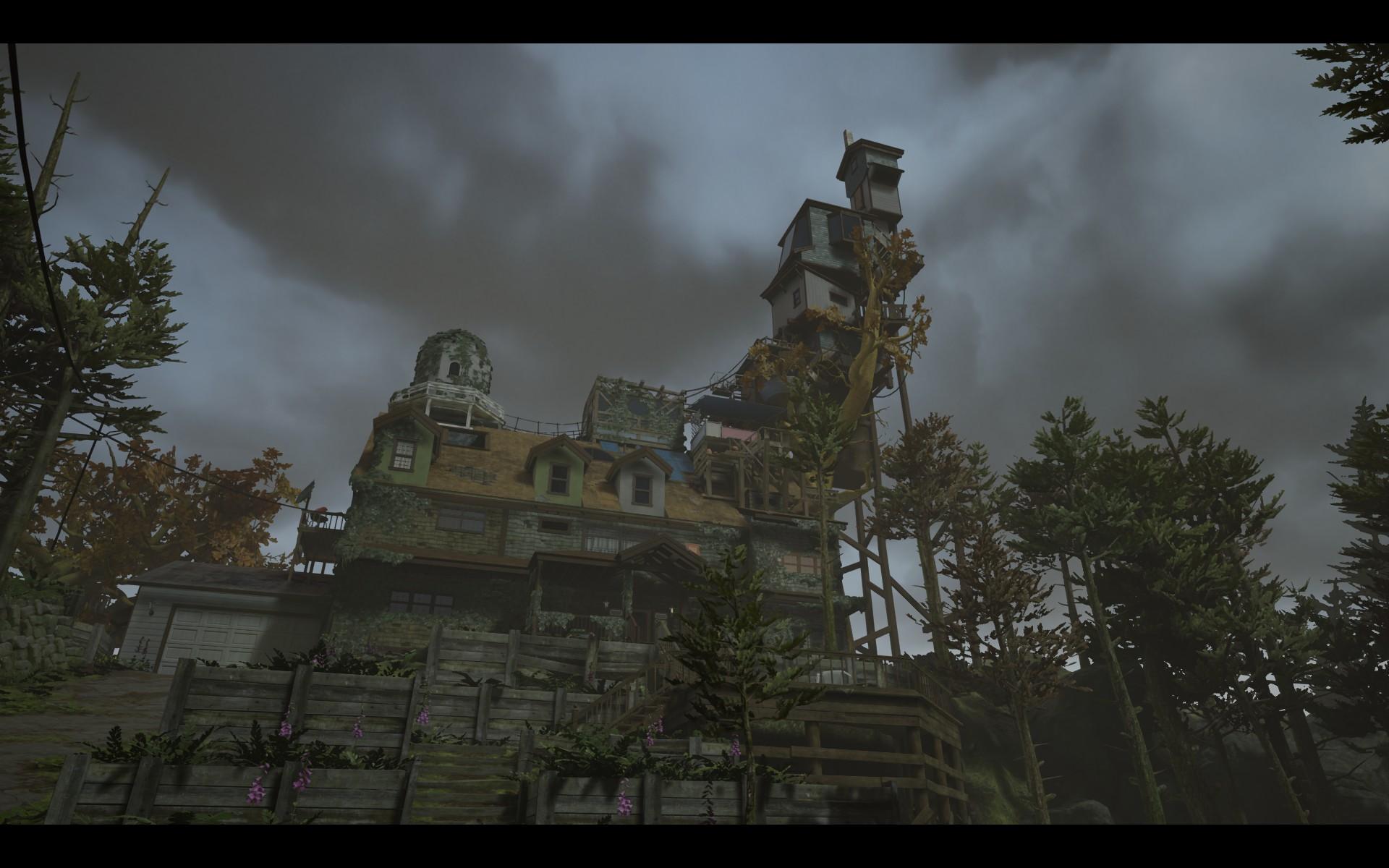 Screenshot: Ein großes Haus, umgeben von Bäumen.