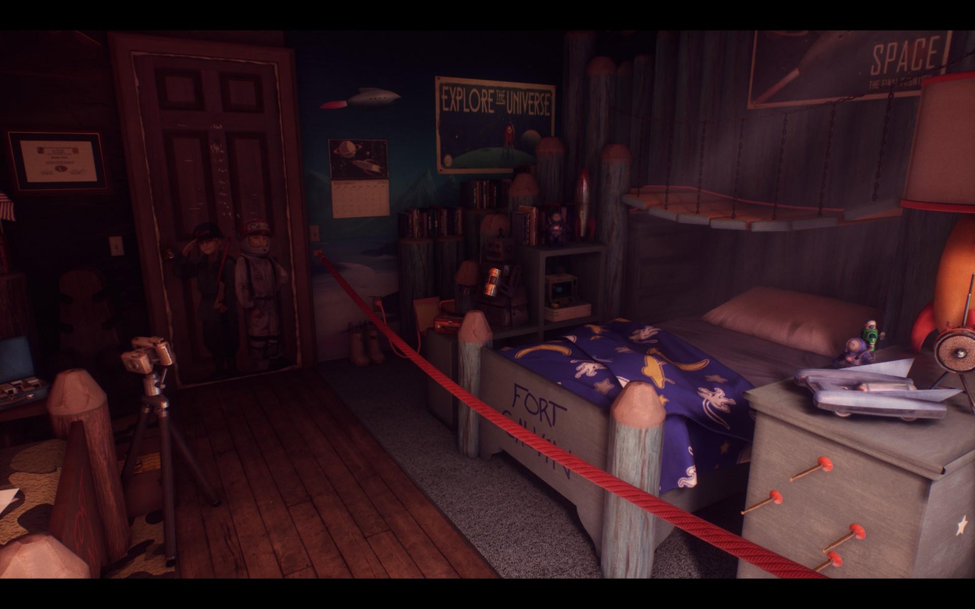 Screenshot: Kinderzimmer mit diversen Spielsachen. Vor dem Bett ist ein Seil zur Absperrung gespannt.
