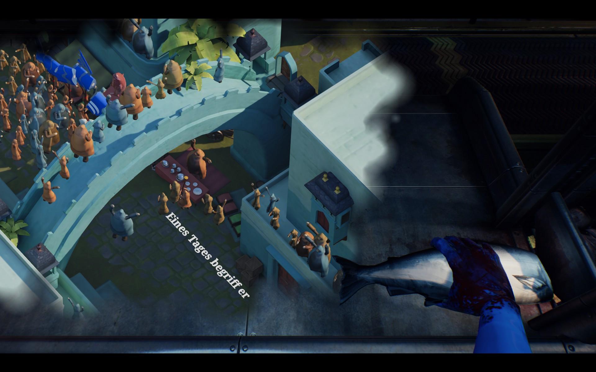 Screenshot: Auf einem Fabrikstisch wird einem Fisch der Kopf abgehackt. Am Tisch darunter spielt sich eine Fantasieszene in einem Königreich ab.