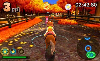 Screenshot: Prinzessin Peach reitet auf einem Pferd durch einen Herbstwald.