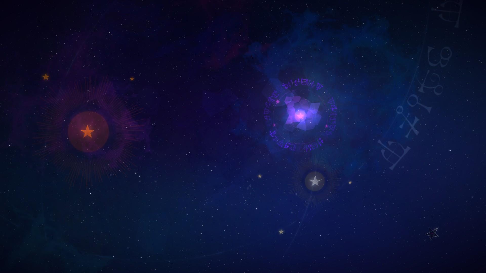 Screenshot: Nachthimmel der von zwei bunten Sternen erhellt wird.