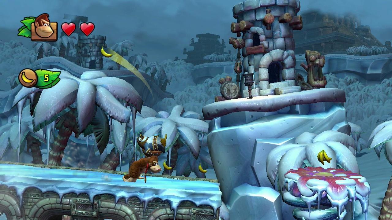 Donkey Kong läuft durch eine eisige Winterlandschaft.