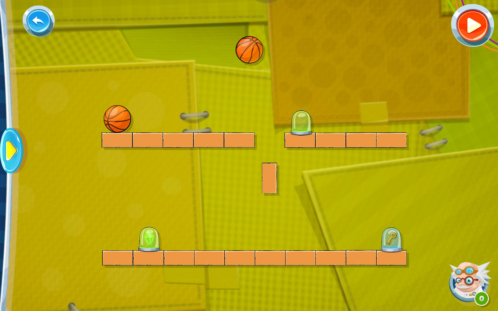 Screenshot: Zwei Basketbälle über mehreren Ziegelsteinen, auf denen sich ein paar Glasgefäße befinden.