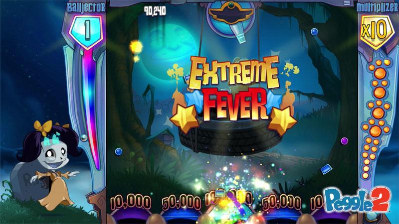 """""""Extreme Fever"""" als Schriftzug vor dem leergeräumten und erfolgreich abgeschlossenen Level."""