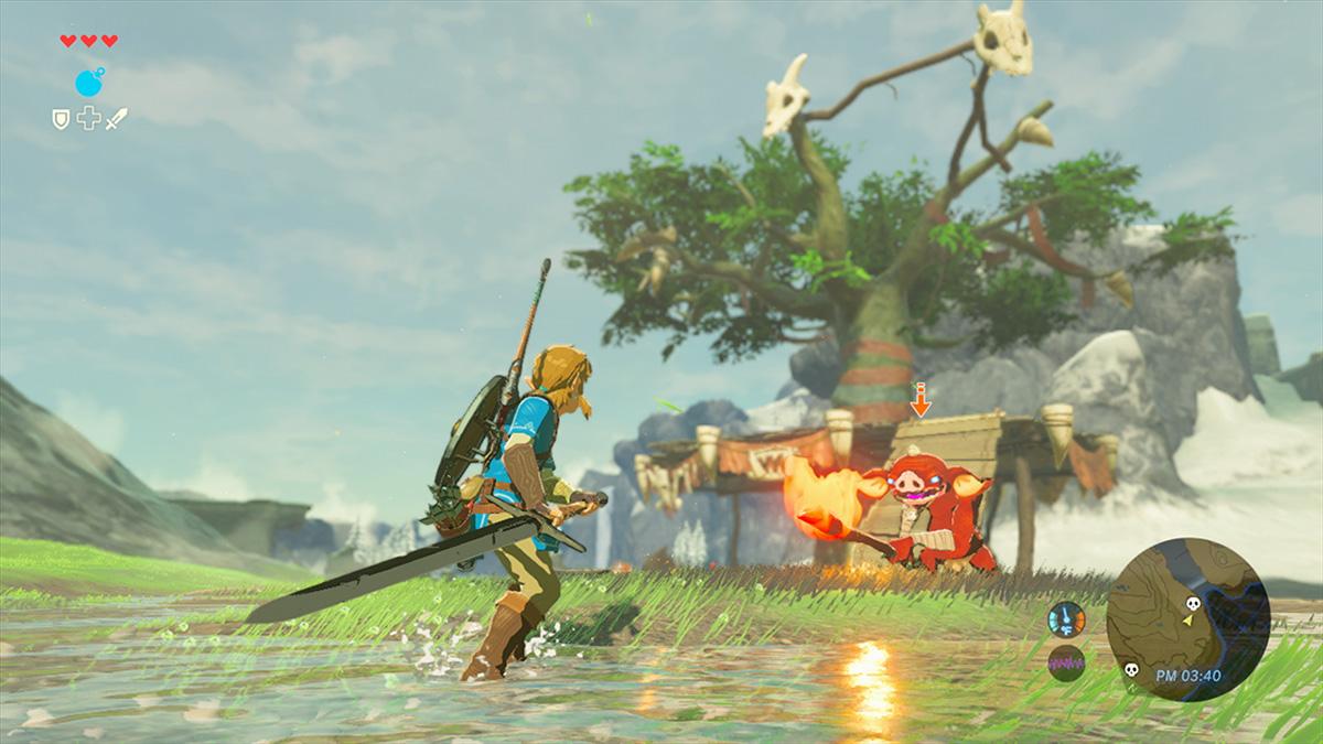 Screenshot: Link ist bewaffnet mit Schwert und Schild und steht einem Monster gegenüber.