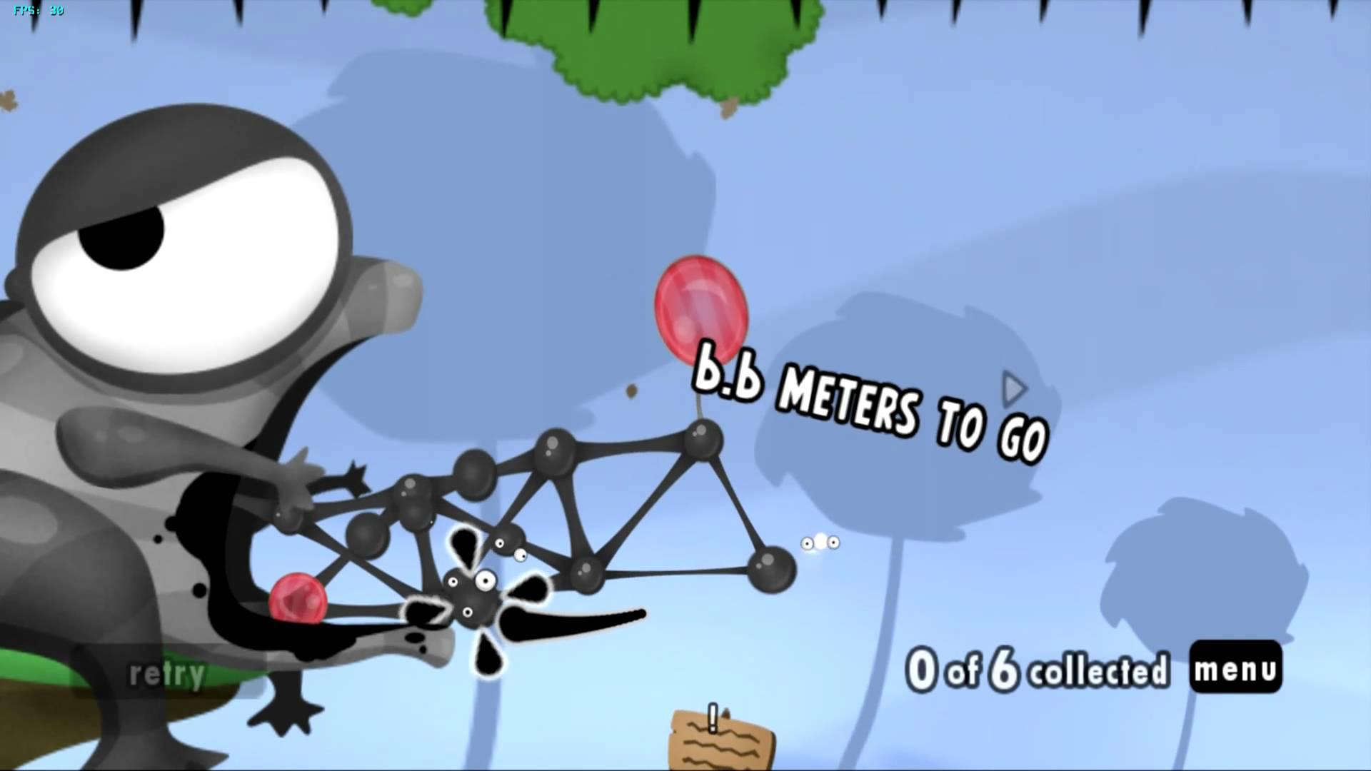Screenshot: Eine Schlucht soll mit Goos und Luftballons überwunden werden - oben und unten sind Stacheln.