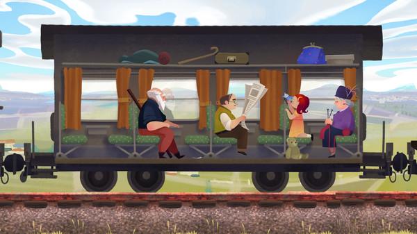 Screenshot: Der alte Mann sitzt in einem Zugabteil und schaut aus dem Fenster.