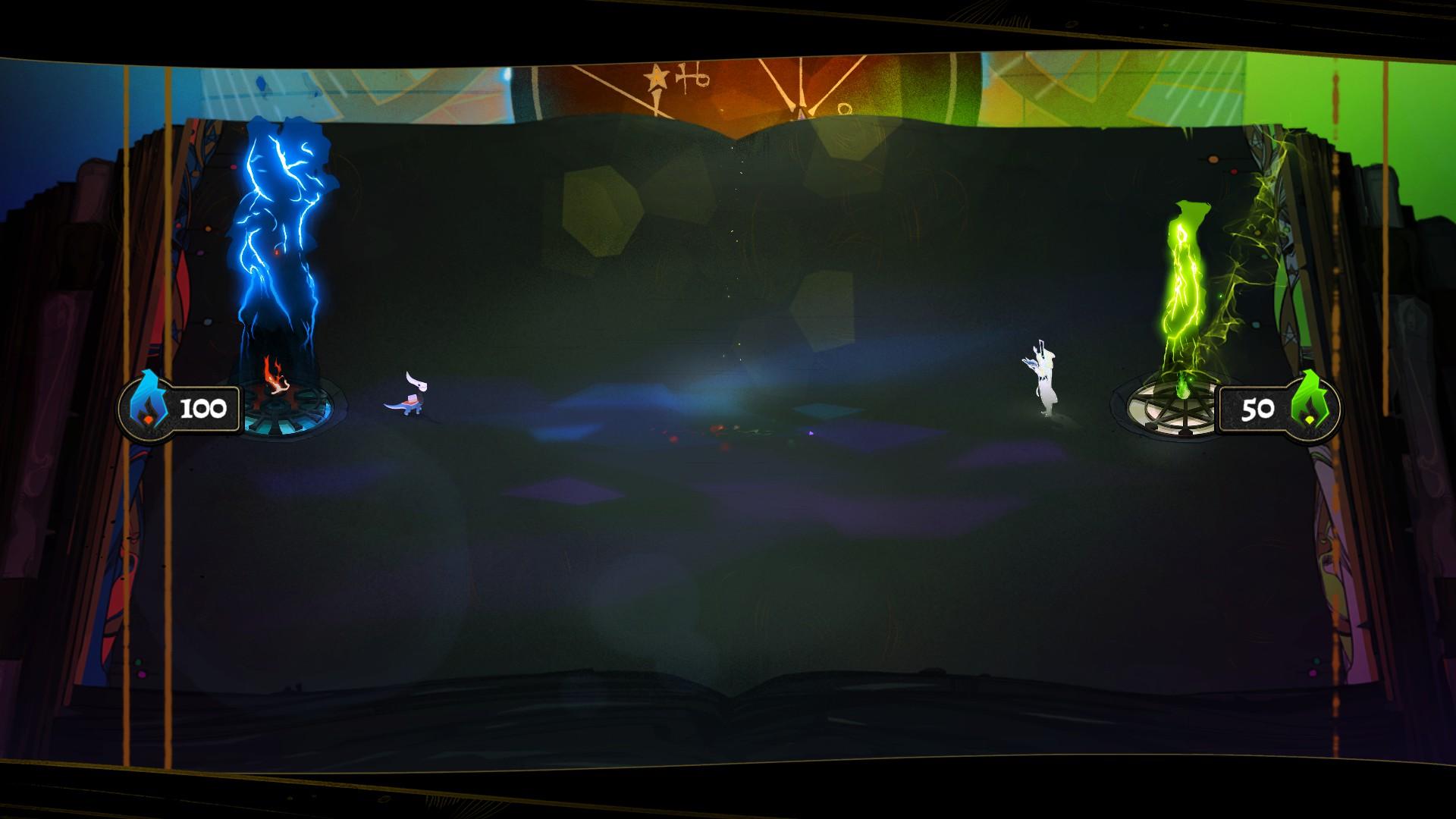 Screenshot: Zwei Spielfiguren stehen sich auf einem riesigen Buch gegenüber.