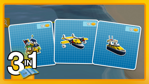 Screenshot: Ein Lego-Bauplan mit mehreren Fahrzeugen.