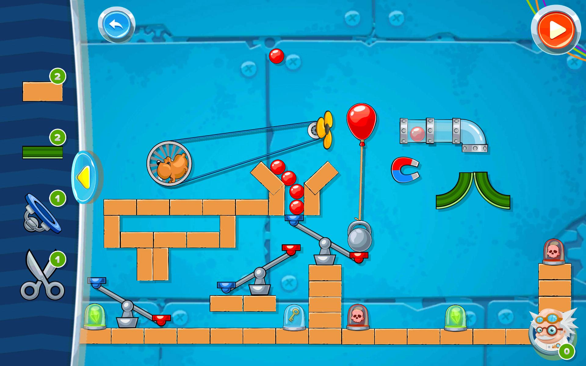 Screenshot: Ein kompliziert aufgebautes Level mit geöffnetem Baumenü.