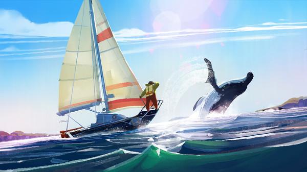 Screenshot: Ein Segelboot schwimmt im Meer und wird von einem Wal begleitet.