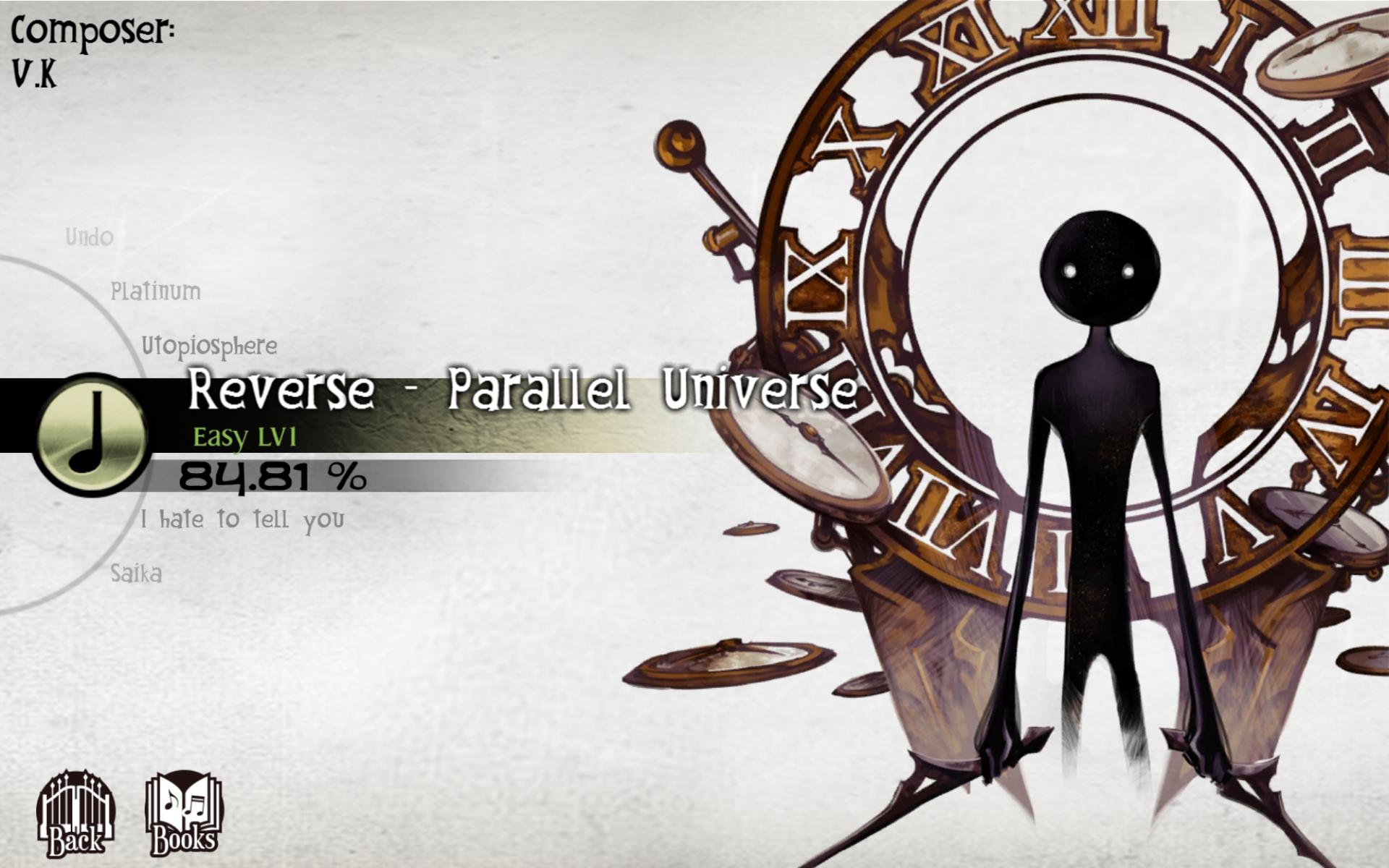 Screenshot: Ein schwarzes Wesen von einer Uhr mit römischen Zahlen. Daneben eine Auswahl an Liedtiteln.