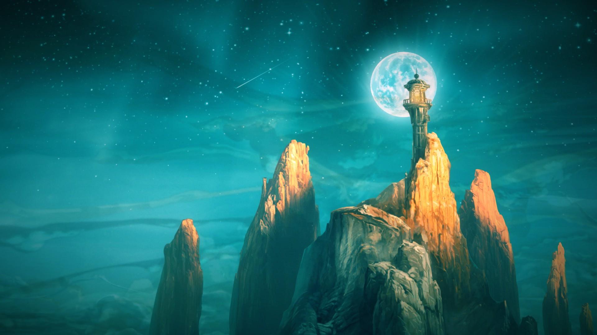 Screenshot: Ein Leuchtturm auf einem Felsen, dahinter der Nachthimmel, inklusive Mond.