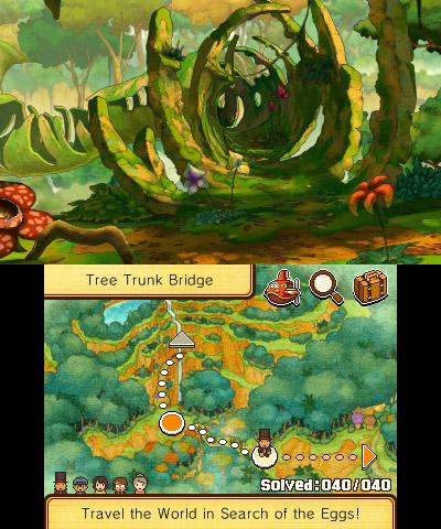 Oberer Screen: Jungle Landschaft und unterer Screen Landkarte