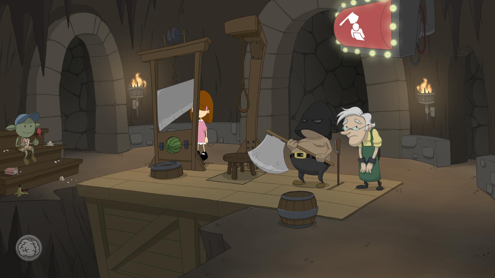 Screenshot: Ein alter Mann mit Handschellen steht neben dem Hinrichter und einem Enthauptungsgerät.