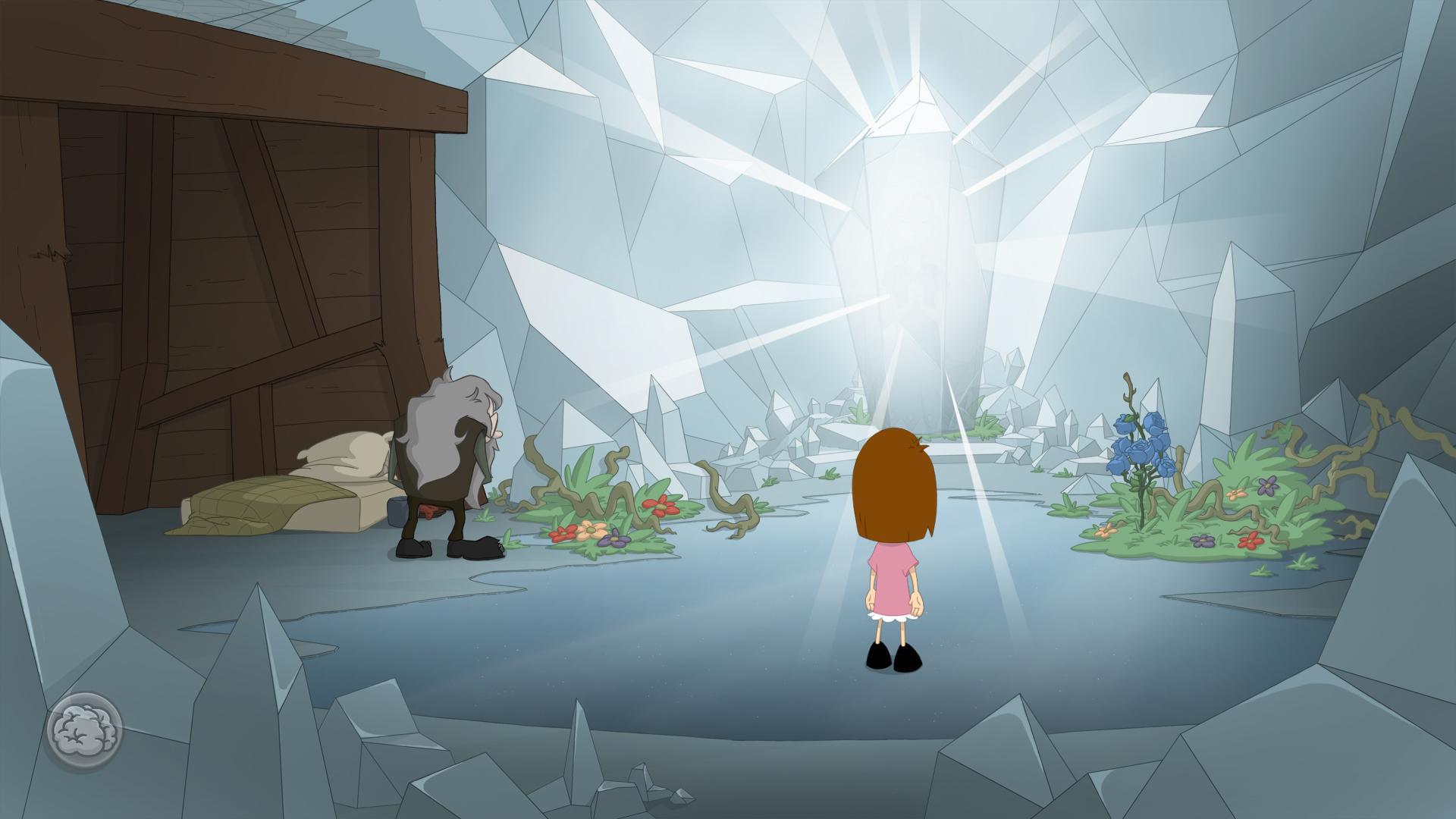 Screenshot: Anna schaut auf einen großen leuchtenden Diamanten.