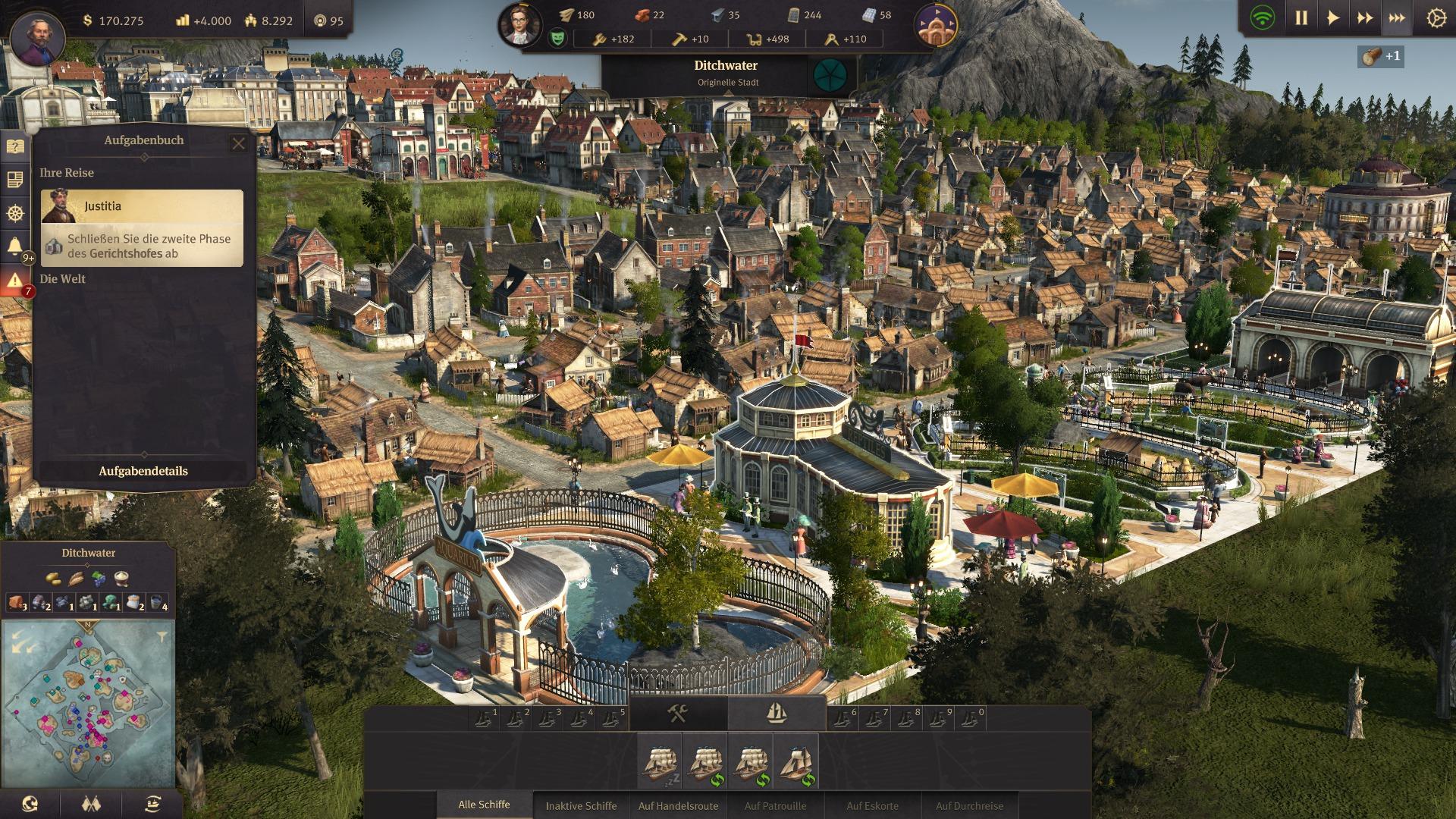 Screenshot des Spiels Anno 1800 - Eine detailreiche, grafisch hochwertige Ansicht einer Stadt die im Spiel erstellt wurde.