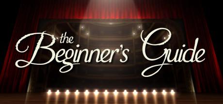 """Cover: Eine beleuchtete Bühne mit einem geschlossenen Vorhang mit dem """"The Beginner's Guide""""-Schriftzug"""
