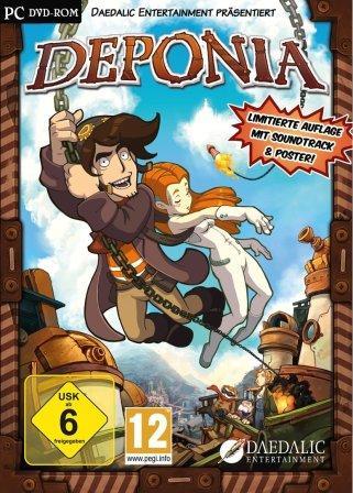 Auf der Coverbild von Deponia schwingt der Held an einem Seil durchs Bild.