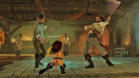 Der gestiefelte Kater kämpft gegen zwei Banditen.