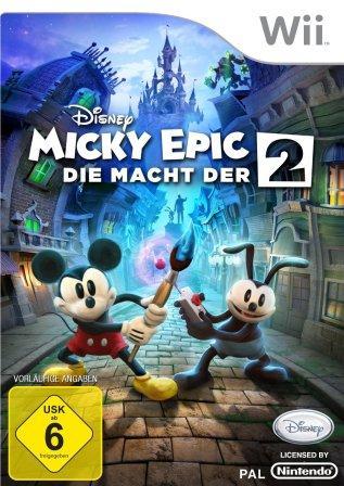 Micky und sein Freund Oswald mit Pinsel und Fernbedienung.