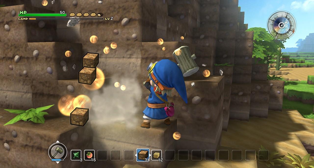 Screenshot: Spielcharakter baut Steine ab