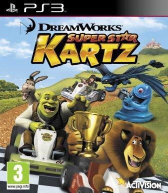 Verschiedene Helden von Dreamworks fahren ein Rennen.