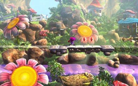 Eine Spielfigur geht in einer bunten Spielwelt über eine Holzbrücke.