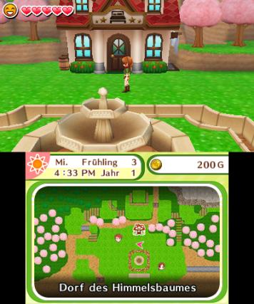 screenshot: Eine junge Frau steht vor einem Haus im Dorf des Himmelsbaumes.