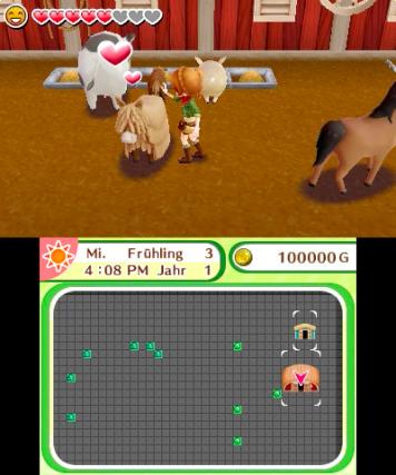screenshot: Eine junge Frau streichelt ein Pferd im Stall.