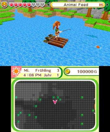 screenshot: Ein Mädchen steht auf einem Floss und hält eine Angel in den Händen.