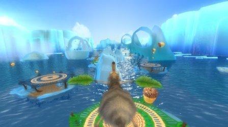 Eine Spielaufgabe führt durch ein Meer mit Eisschollen.