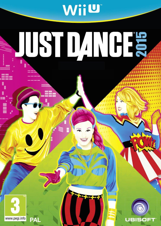 Cover mit schrillen poppigen Farben mit drei tanzenden Figuren und dem Schriftzug von Just dance 2015.