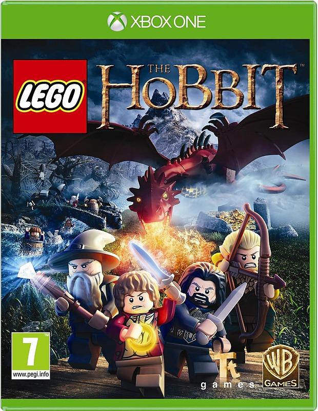 Der Packshot zeigt Lego-Figuren von Thorin, Bilbo, Gandalf und Legolas ,welche vor einem Drachen flüchten.