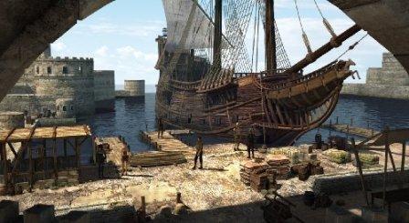 Ein großes Segelschiff liegt im Hafen vor Anker.