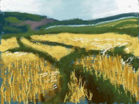 Eine gemalte Landschaft ist zu sehen.