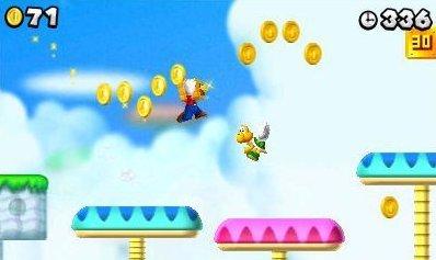 Mario hüpft und sammelt Münzen.